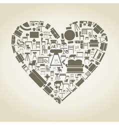 Furniture heart vector image vector image