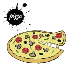 hot tasty pizza vector image vector image