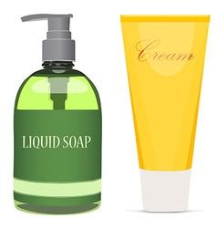 Liquid soap bottle and cream tube vector image