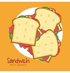 Sandwich plate bread lunch snack icon vector