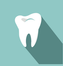 tooth icon with long shadow flat design style vector image vector image