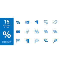 15 discount icons vector image