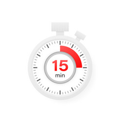 15 minutes timer stopwatch icon in flat style vector