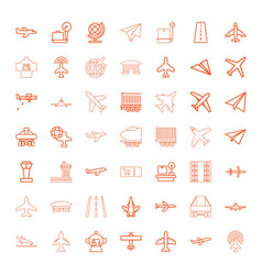 49 plane icons vector image