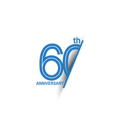 60 anniversary blue cut style isolated on white vector