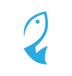 abstract fish symbol icon on white vector image