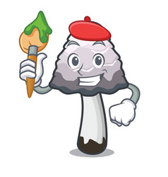 Artist shaggy mane mushroom character cartoon vector