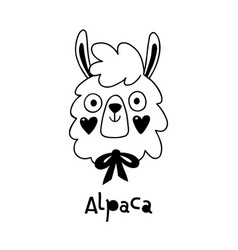 Avatar cute face alpaca portrait vector