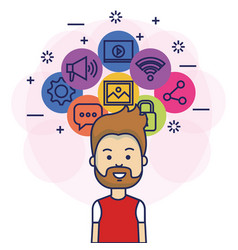 Avatar man with social media marketing vector