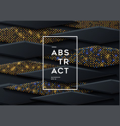black paper cut background abstract realistic vector image