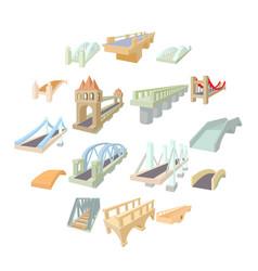 bridge set icons vector image
