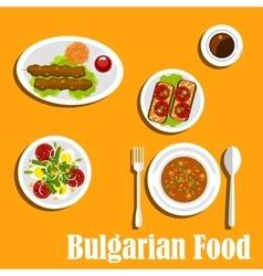 Bulgarian cuisine nutritious dinner dishes vector