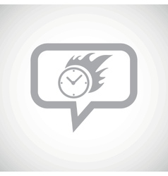Burning clock grey message icon vector image
