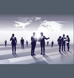 Business team silhouette businesspeople group vector