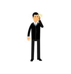 businessman in a black suit standing talking on vector image