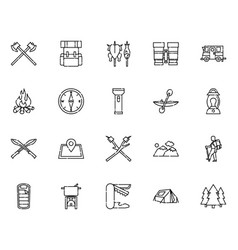 camping icon collection outline style vector image