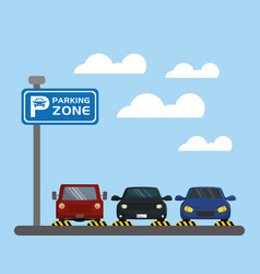 Cars with parking signal vector