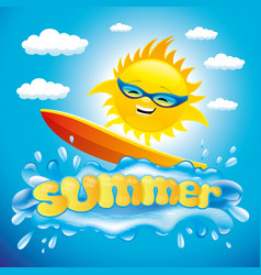 cheerful sun on a surfboard vector image