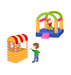children in amusement park set vector image