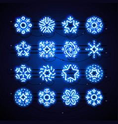 christmas neon snowflakes blue magic vector image