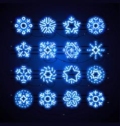 Christmas neon snowflakes blue magic vector