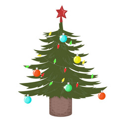 christmas tree decorated with balls and a garland vector image