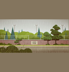 city park sign board on fence rain drops falling vector image