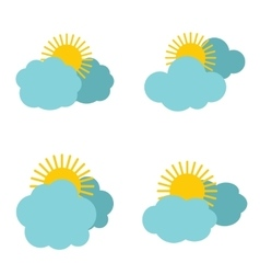 Cloud icons with sun on white background vector image