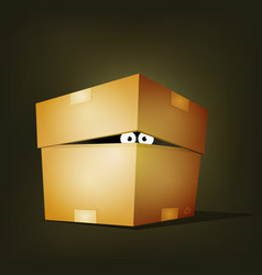 creature inside birthday cardboard box vector image
