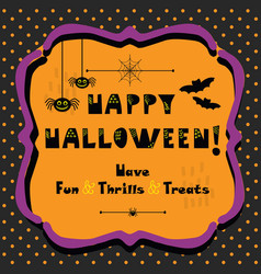cute happy halloween emblem greeting card vector image