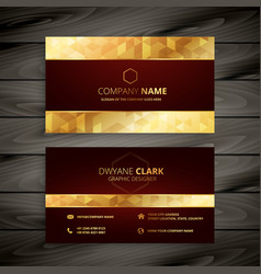 dark red and gold business card design vector image