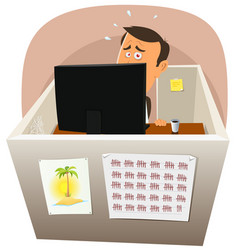 Depressive worker at work vector