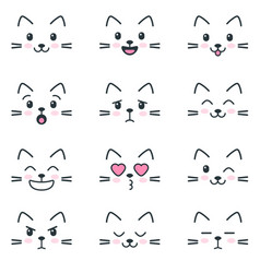 Different emotions cats on white background vector