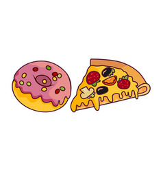 Donut with glaze icing pizza slice set vector