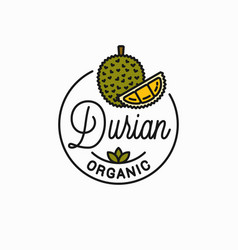 Durian fruit logo round linear durian slice vector