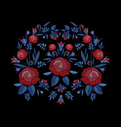embroidered composition of roses flowers buds and vector image