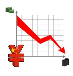 Falling and rising yen fall in oil prices Red down vector image