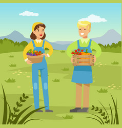 Farmers man and woman holding baskets with fresh vector