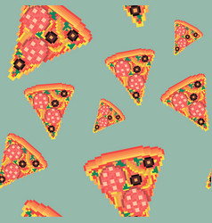 fast food pizza pixel art seamless pattern vector image
