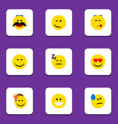 flat icon gesture set of grin winking cheerful vector image