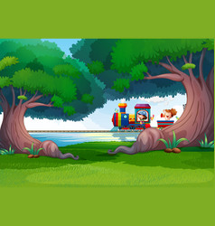 Forest scene with kids on train vector