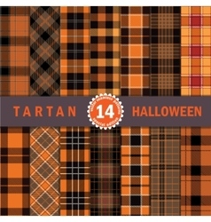 Fourteen halloween tartan seamless pattern vector