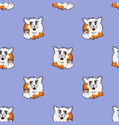 Funny cat cartoon pet seamless pattern kitty say vector