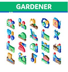 Gardener instrument isometric icons set vector