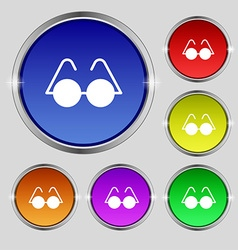 Glasses icon sign Round symbol on bright colourful vector image