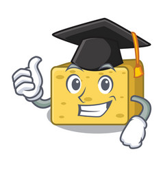 Graduation character fresh gouda cheese vector