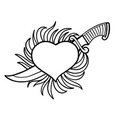 graphic flaming heart with knife vector image