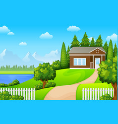 Green landscape with house near lake and mountains vector
