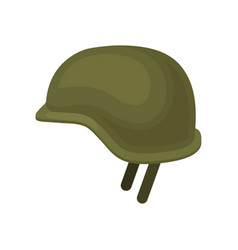 Green military helmet solid headgear protective vector