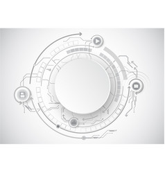 Grey circle circuit icon technology vector